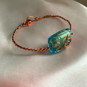 Jewelry - Glass bead copper wire wrapped bracelet